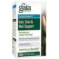 Gaia Herbs, Поддержка для волос, кожи и ногтей, 60 вегетарианских гелевых фито-капсул, купить, цена, отзывы
