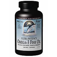 Source Naturals, Чистый, арктический рыбий жир с Омега-3, Эффективное действие, 850 мг, 60 желатиновых капсул, купить, цена, отзывы