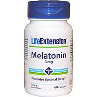 Life Extension, Life Extension, мелатонин, 3 мг, 60 капсул, купить, цена, отзывы