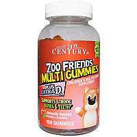 21st Century, Жевательные мультивитамины Друзья из Зоопарка, Мультивитаминная пищевая добавка для детей, 150 жевательных таблеток, купить, цена,