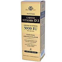 Solgar, Жидкий витамин D3, 5000 международных единиц в 1 порции, с натуральным апельсиновым вкусом, 2 жидких унции (59 мл), купить, цена, отзывы