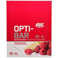 Optimum Nutrition, Высокопротеиновый Батончик Opti-Bar, Вкус Белого Шоколада с Малиной, 12 батончиков, 2,1 унции (60г) каждый, купить, цена, отзывы