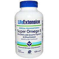 Life Extension, Omega Foundations, Супер Омега-3, 120 желатиновых капсул, купить, цена, отзывы