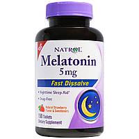 Natrol, Быстрорастворимый меланин, натуральный клубничный вкус, 5 мг, 150 таблеток, купить, цена, отзывы