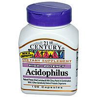 21st Century, Ацидофилин, Высокая эффективность, 100 капсул, купить, цена, отзывы