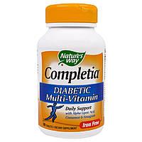 Nature's Way, Completia, Диабетические витамины, без железа, 90 таблеток, купить, цена, отзывы