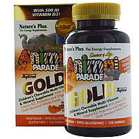 Nature's Plus, Источник жизни, Золотое шествие животных, Жевательный комплекс мультивитаминов и минералов для детей с натуральным вкусом апельсина,,