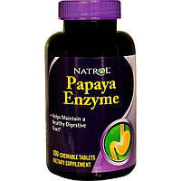 Natrol, Энзим папайи, 100 жевательных таблеток