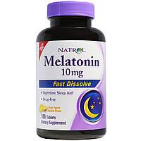 Natrol, Быстрорастворимый меланин, натуральный вкус цитрусового пунша, 10 мг, 100 таблеток, купить, цена, отзывы