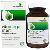 FutureBiotics, VitOmegaMen, мегамультивитамины + льняное масло, 90 вегетарианских таблеток, купить, цена, отзывы