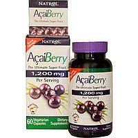 Natrol, Ягода асаи, Питательный плод, Экстра действие, 1200 мг, 60 капсул, купить, цена, отзывы