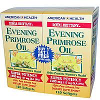 American Health, Royal Brittany, масло примулы вечерней (EPO), 1300 мг, 2 флакона, 120 желатиновых капсул в каждом флаконе, купить, цена, отзывы