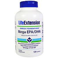 Life Extension, Omega Foundations, Mega EPA/DHA, 120 капсул, купить, цена, отзывы