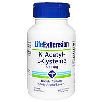 Life Extension, N-ацетил-L-цистеин, 600 мг, 60 вегетарианских капсул, купить, цена, отзывы