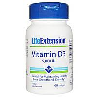 Life Extension, Витамин D3, 5000 МЕ, 60 гелевых капсул, купить, цена, отзывы