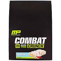 """Muscle Pharm, """"Битва"""", хрустящие белковые батончики со вкусом торта ко дню рождения, 12 батончиков по 2,22 унции (63 г), купить, цена, отзывы"""