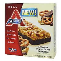 Atkins, Батончики со вкусом претцелей с шоколадно арахисовой пастой, 5 батончиков, 1.7 унций (48 г) каждый, купить, цена, отзывы