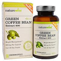 NatureWise, Экстракт из зеленых зерен кофе 800, 60 вегетарианских капсул, купить, цена, отзывы