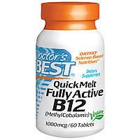 Doctor's Best, Полностью активный В12, 1000 мкг, 60 быстрорастворимых таблеток для рассасывания, купить, цена,