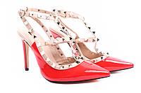 Босоножки женские стильные Vices эко-лак, цвет красный (шпилька, каблук)