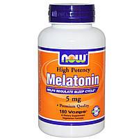 Now Foods, Мелатонин, высокая эффективность, 5 мг, 180 капсул в растительной оболочке, купить, цена, отзывы