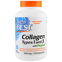 Doctor's Best, Collagen, Types 1 and 3 with Peptan, 500 mg, 240 Capsules, купить, цена, отзывы