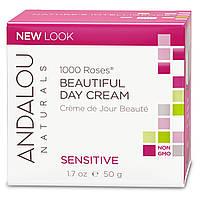 Andalou Naturals, Дневной крем для чувствительной кожи, 1000 роз, 1.7 унций (50 мл), купить, цена, отзывы