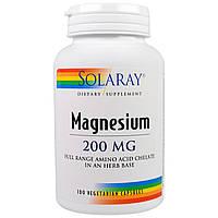 Solaray, Магний, 200 мг, 100 вегетарианских капсул, купить, цена, отзывы