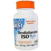 Doctor's Best, Бенфотиамин 150 с BenfoPure, 150 мг, 120 вегетарианских капсул, купить, цена, отзывы