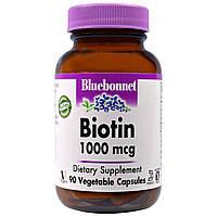 Bluebonnet Nutrition, Биотин, 1000 мкг, 90 вегетарианских капсул, купить, цена, отзывы
