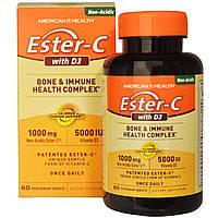 American Health, Эстер-C с D3, оздоровительный комплекс для костей и иммунитета, 1000 мг/5000 МЕ, 60 вегетарианских таблеток, купить, цена, отзывы