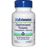 Life Extension, Оптимизированный фолат, 100 мкг, 100 таблеток в растительной оболочке, купить, цена, отзывы