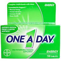 One-A-Day, Энергетик, мультивитаминный/мультиминеральный комплекс, 50 таблеток, купить, цена, отзывы