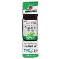 Nature's Answer, Органическое эфирное масло, 100% чистая перечная мята, 0.5 ж. унц. (15 мл), купить, цена, отзывы