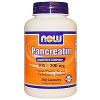 Now Foods, Панкреатин, 10X - 200 мг, 250 капсул, купить, цена, отзывы
