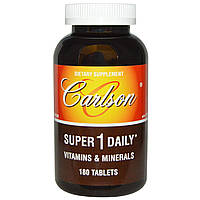 Carlson Labs, Super 1 Daily, витамины и минералы, 180 таблеток, купить, цена, отзывы