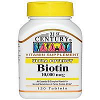 21st Century, Биотин, 10,000 мкг, 120 таблеток, купить, цена, отзывы
