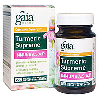 Gaia Herbs, Turmeric Supreme, Immune A.S.A.P., 20 Vegetarian Liquid Phyto-Caps, купить, цена, отзывы