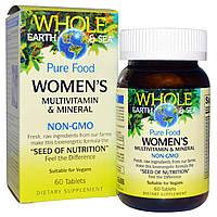 """Natural Factors, Пищевая добавка """"Непочатое море и земля"""", мультивитаминный и минеральный комплекс для женщин, 60 таблеток, купить, цена, отзывы"""