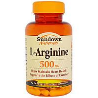 Sundown Naturals, L-аргинин, 500 мг, 90 капсул, купить, цена, отзывы