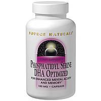 Source Naturals, Фосфатидилсерин, оптимизированный ДГК, 100 мг, 30 капсул, купить, цена, отзывы