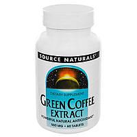 Source Naturals, Экстракт зеленого кофе, 500 мг, 60 таблеток, купить, цена, отзывы