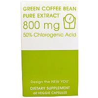 Creative Bioscience, Зеленое кофейное зерно, чистый экстракт, 800 мг, 60 вегетарианских капсул, купить, цена, отзывы