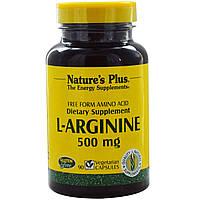 Nature's Plus, L-аргинин, 500 мг, 90 вегетарианских капсул, купить, цена, отзывы