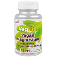 VegLife, Магний растительного происхождения, три источника, 90 вегетарианских капсул, купить, цена, отзывы