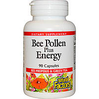 Natural Factors, Bee Pollen Plus Energy, 90 капсул, купить, цена, отзывы