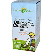Amazing Grass, Удивительные трио травы ячменя, пшеницы и травы люцерны в порошке. 15 индивидуальных пакетиков, 8 г каждый, купить, цена, отзывы