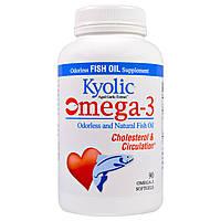 Wakunaga - Kyolic, Омега-3, выдержанный экстракт чеснока, улучшение холестеринового баланса и кровообращения, 90 мягких капсул, купить, цена, отзывы