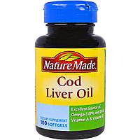 Nature Made, Рыбий жир из печени трески, 100 мягких желатиновых капсул с жидкостью, купить, цена, отзывы