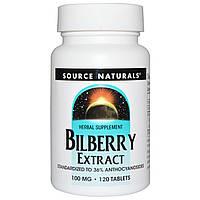 Source Naturals, Экстракт черники, 100 мг, 120 таблеток, купить, цена, отзывы